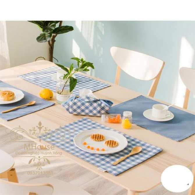 Bộ 4 khăn lót sọc caro lót bàn ăn, chén dĩa, ly tách (xám)