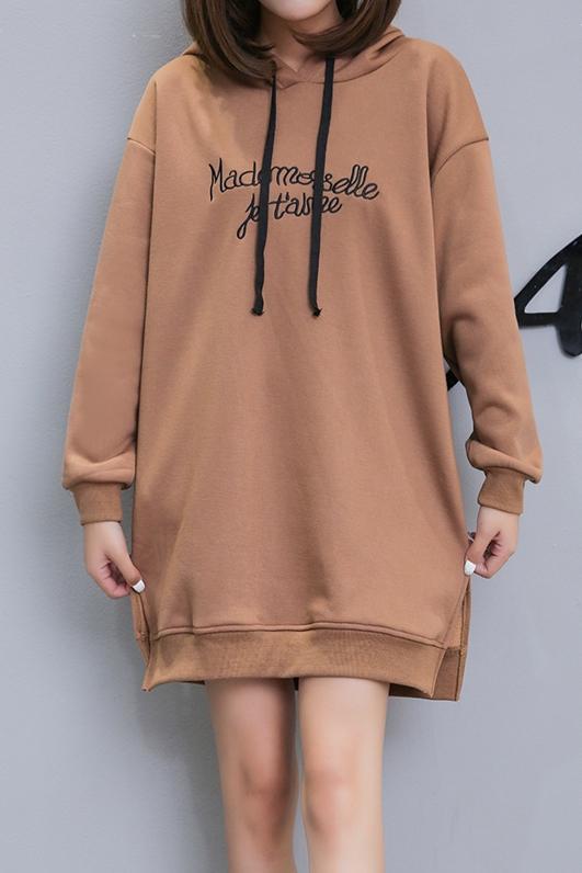 Váy Đầm Nỉ Nữ Xẻ Tà Phối Mũ In Chữ Thời Trang FrancisB DAM NU 1000051 BR