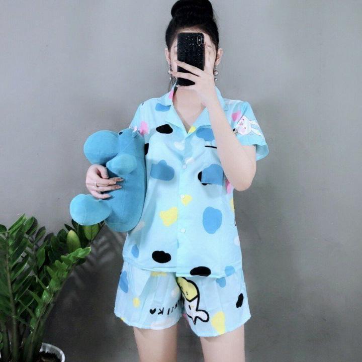 Đồ Bộ Pyjama Quần Cộc Chất Kate Dễ Thương