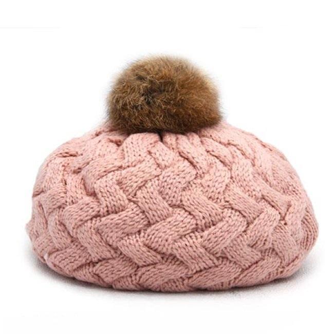 Mũ len lồi quả bông cho bé dễ thương
