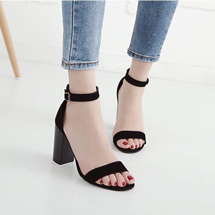 Giày cao gót LT 7 phân quai ngang đen (ảnh)