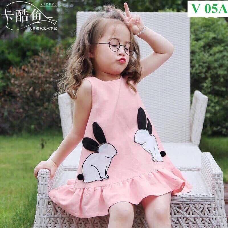 Váy dáng xoè hoạ tiết hình thỏ - vải cotton co dãn 4 chiều - dáng tiểu thư cực xinh cho bé gái (Hàng bán shop và siêu thị)