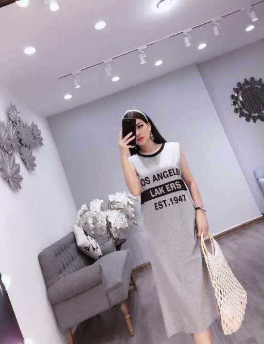 Combo Hai Đầm Váy Áo Thun Dáng Form Dài Suông Los Angeles 4MENHCM 2DAM 9000052 B G