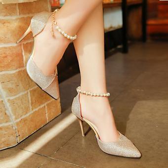 3dedfbd4f การส่งเสริม 2019 Spring New Style Korean Style Versatile High Heel Shoes  Beaded Bracelet Closed-toe Sandals Pointed Silver Dull Polish Thin  ซื้อที่ไหน ...