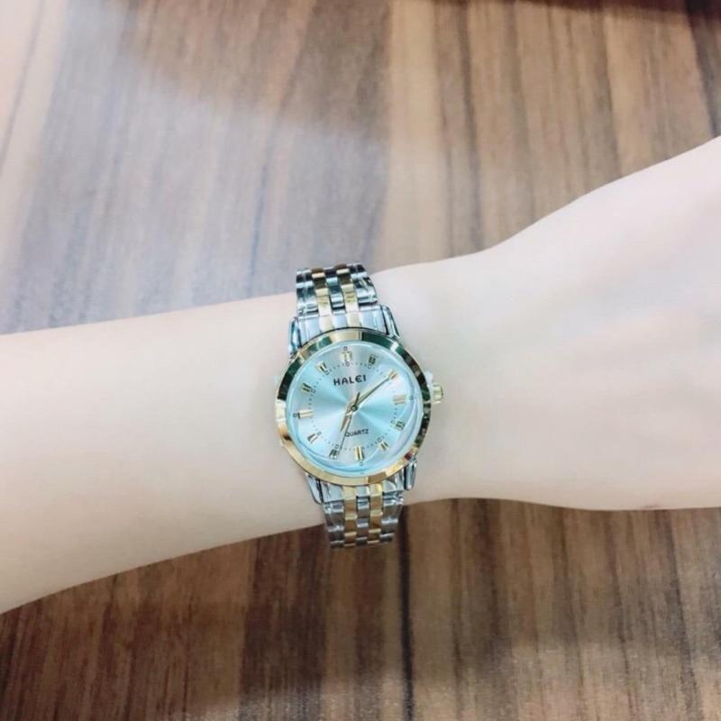 Đồng hồ nữ mạ vàng cao cấp Halei dây demi mặt trắng 502 HL0272