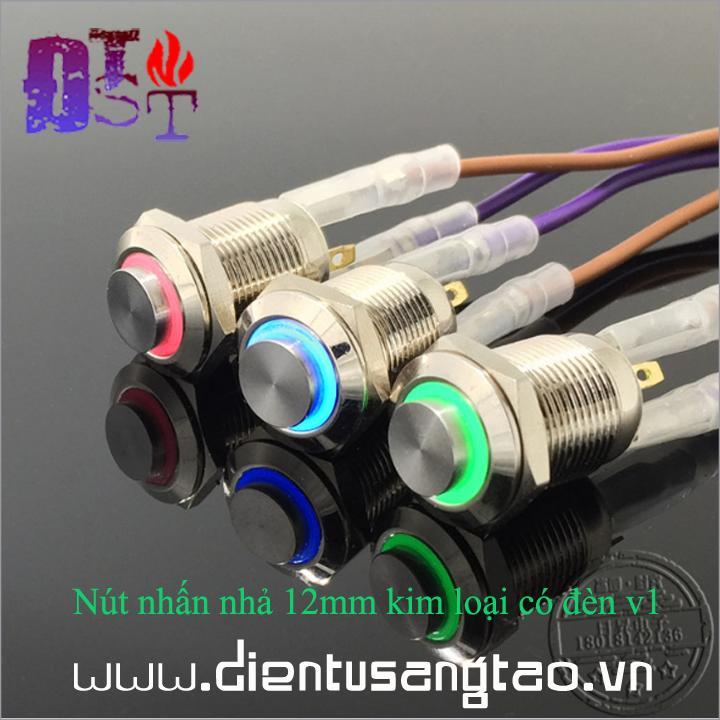 Nút nhấn nhả 12mm kim loại có đèn v1