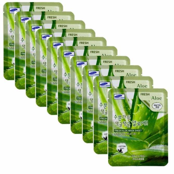 Bộ 10 gói Mặt nạ giấy dưỡng da Nha Dam 3W CLinic Aloe Fresh Mask Sheet 23ml x10