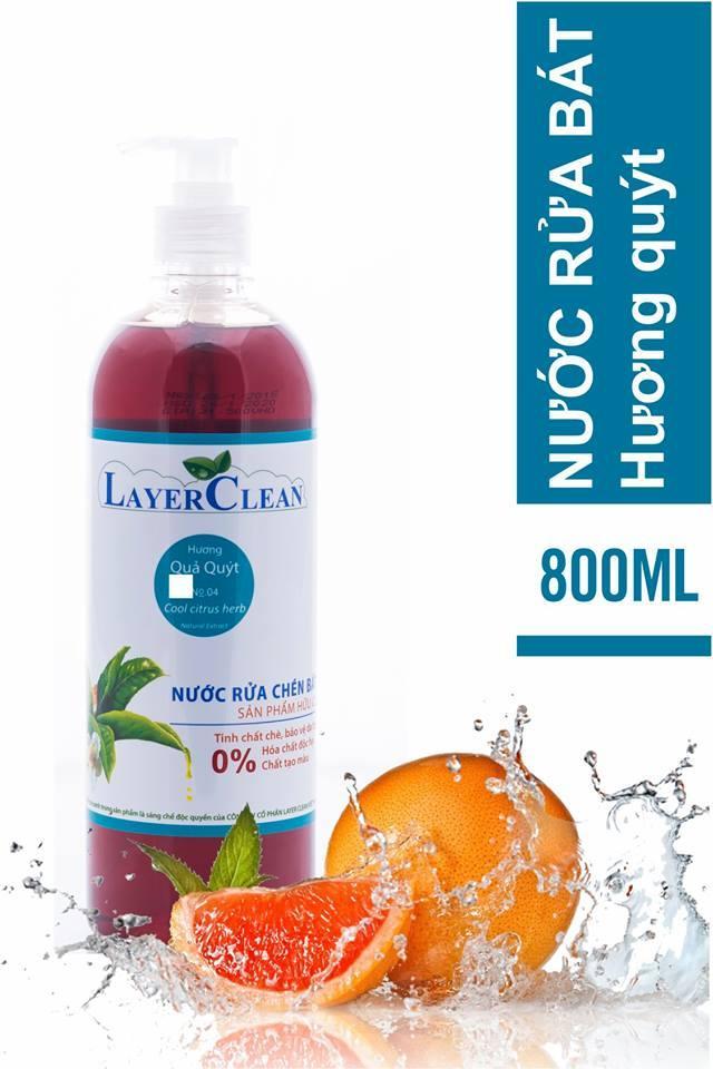 Nước rửa chén hữu cơ Layer Clean 800ml - hương quả Quýt