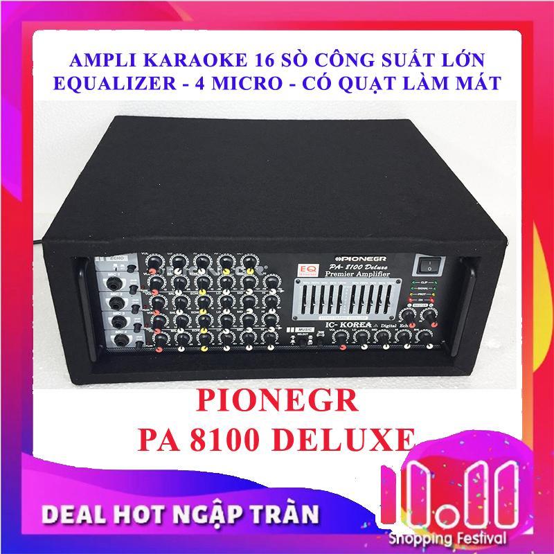 Ampli sân khấu Amply karaoke nghe nhạc hội thảo PIONEGR 8100 DELUXE CÔNG SUẤT LỚN 1280W (Tặng usb bluetooth)