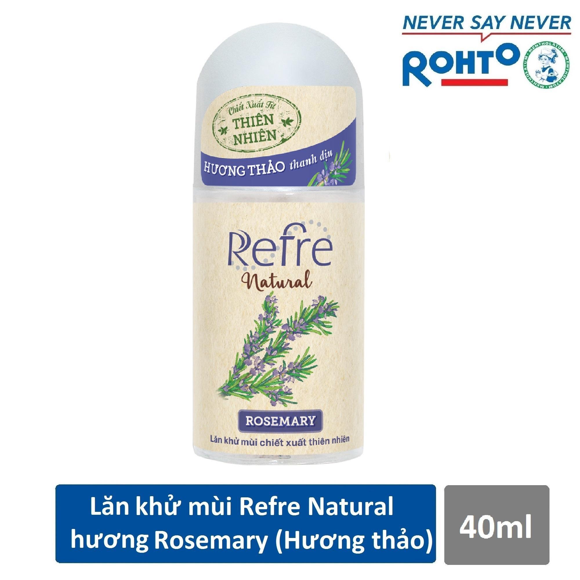 Lăn khử mùi Refre Natural Rosemary Hương Hương Thảo 40ml