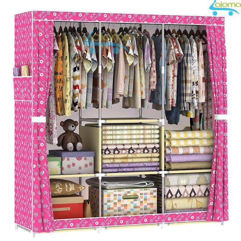 Tủ vải quần áo 3 buồng 8 ngăn khung gỗ loại tốt