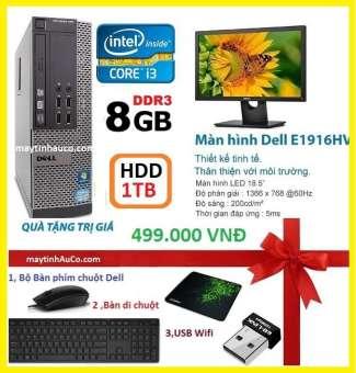 máy tính để bàn đồng bộ dell optiplex 390 ( core i3 / 8g / 1000g ),màn hình 18.5 wide - led, tặng bộ bàn phím chuột dell ,  usb wifi , bàn di chuột - hàng nhập khẩu