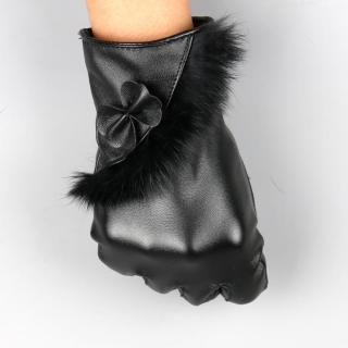 Bao tay nữ Găng tay da nữ cảm ứng mùa đông họa tiết dải lông thời trang cao cấp-GTMD02 thumbnail