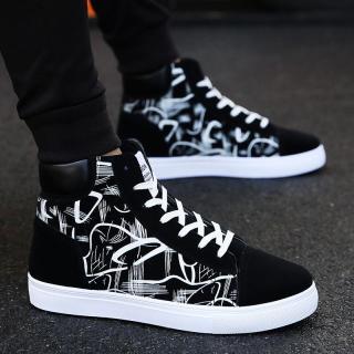 Giày nam cao cổ vải nhung họa tiết in nhiệt sắc nét đế cao su bền đẹp thời trang giaynam - G311 (đen) thumbnail