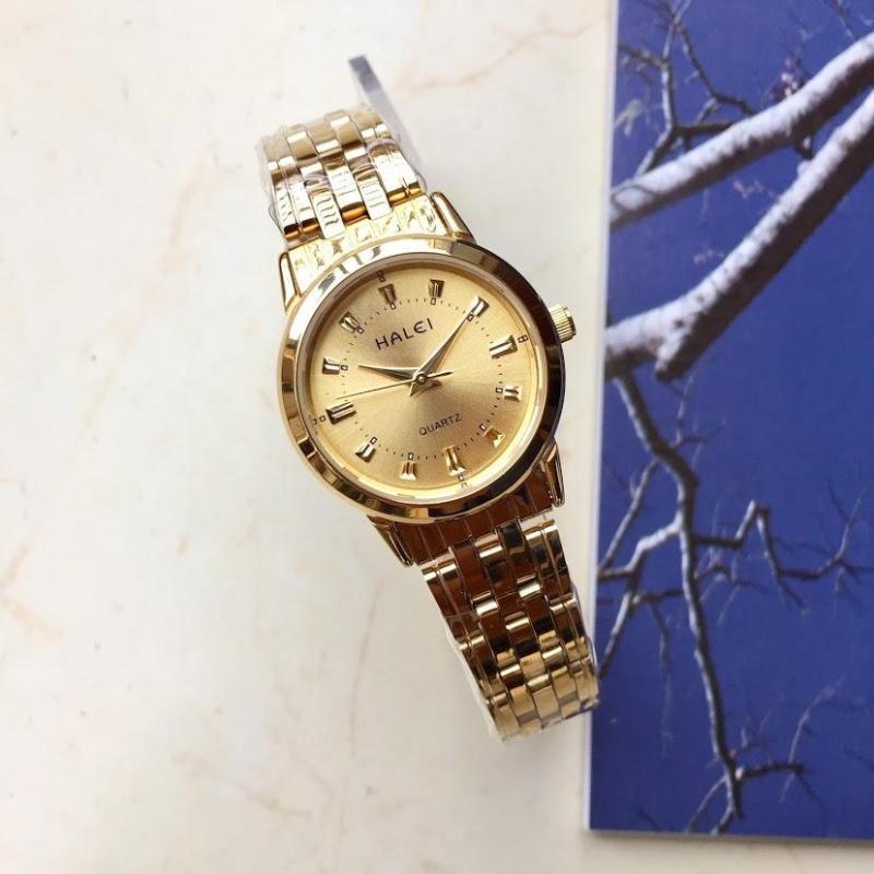 Đồng hồ nữ Halei 2v Vàng Full- chống xước- chống nước