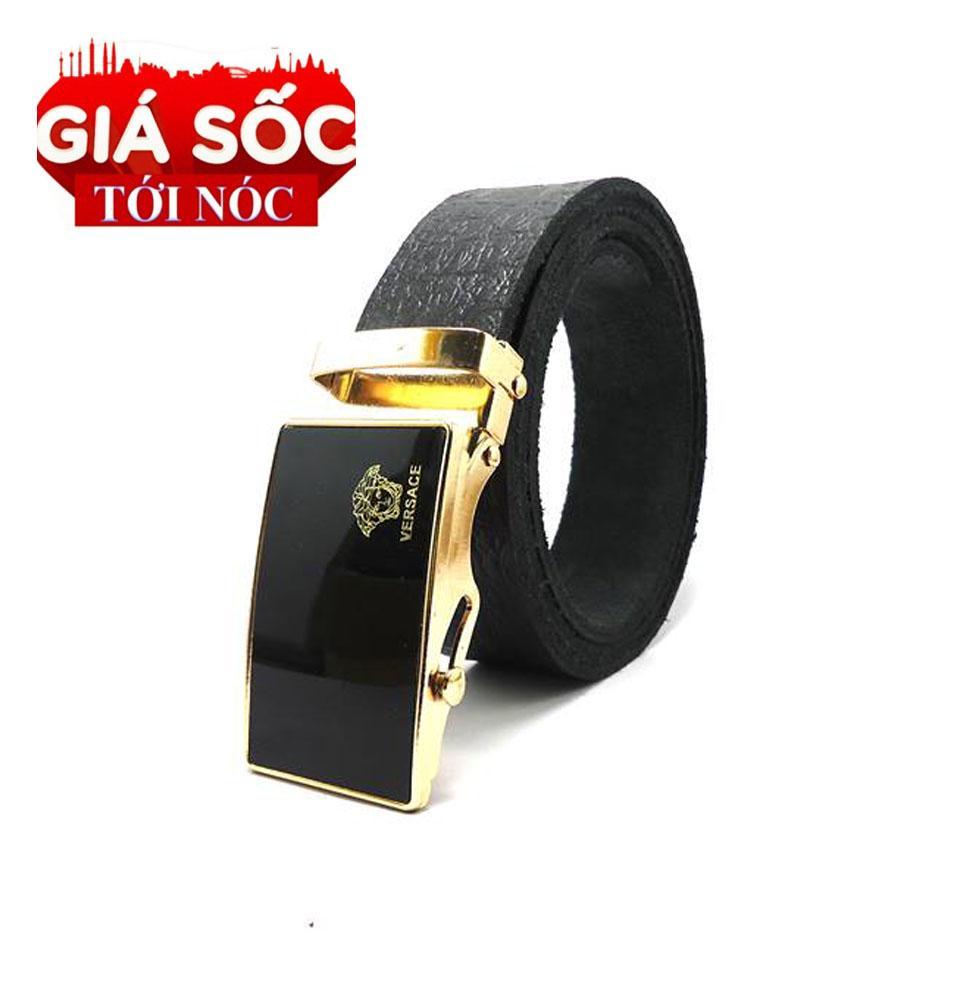 Dây nịt nam,Dây thắt lưng khóa lăn logo nổi tiếng - giao hình ngẫu niên ( mầu đen)