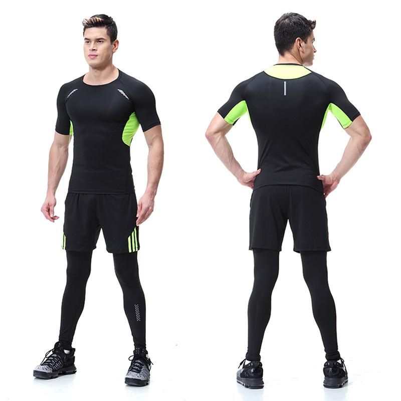 Tights Workout Clothes Mens Suit Three-Piece Set Quick-Drying Short-Sleeve Tights Running Sports Set Basketball Gym By Tafqcsl