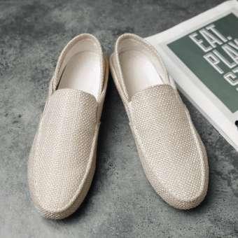 สำหรับฤดูร้อนแฟชั่นผู้ชายแบบบางรองเท้า Tods สไตล์เกาหลีแฟชั่นลำลองรองเท้าผ้าใบไร้เชือกรองเท้าผ้าคนขี้เกียจรองเท้าแฟชั่นระบายอากาศผ้าลินินรองเท้าผู้ชาย