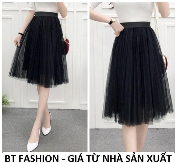 Chân Váy Xòe Dài Duyên Dáng Thời Trang Hàn Quốc - BT Fashion (VA01 - Vải Lưới)
