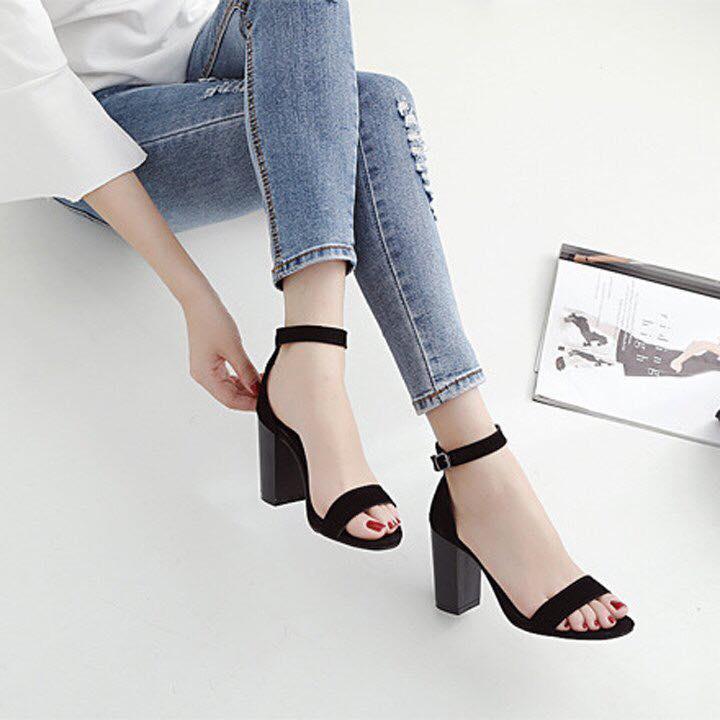 [ẢNH THẬT] Giày cao gót sandal quai bản đen SD01