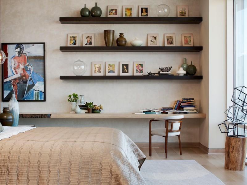 Kệ trang trí treo tường gồm 3 thanh ngang đen dài 1m x sâu 20cm