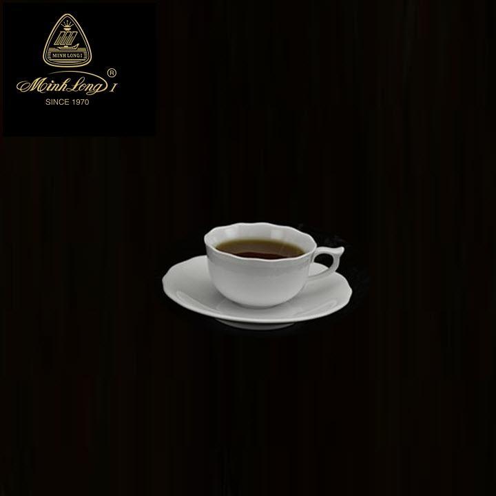 Tách trà và đế lót mẫu đơn 0.11L- gốm sứ minh long