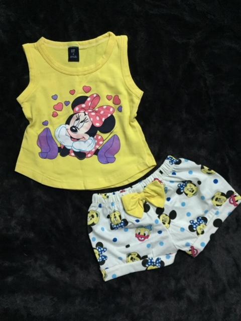 Bộ thun ngắn hình chuột Mickey hiệu GA9 cho bé gái 1-6 tuổ