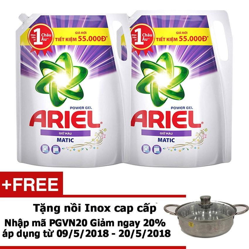 Bộ 2 Nước giặt Ariel Giữ Màu gói 2.4kg tặng...