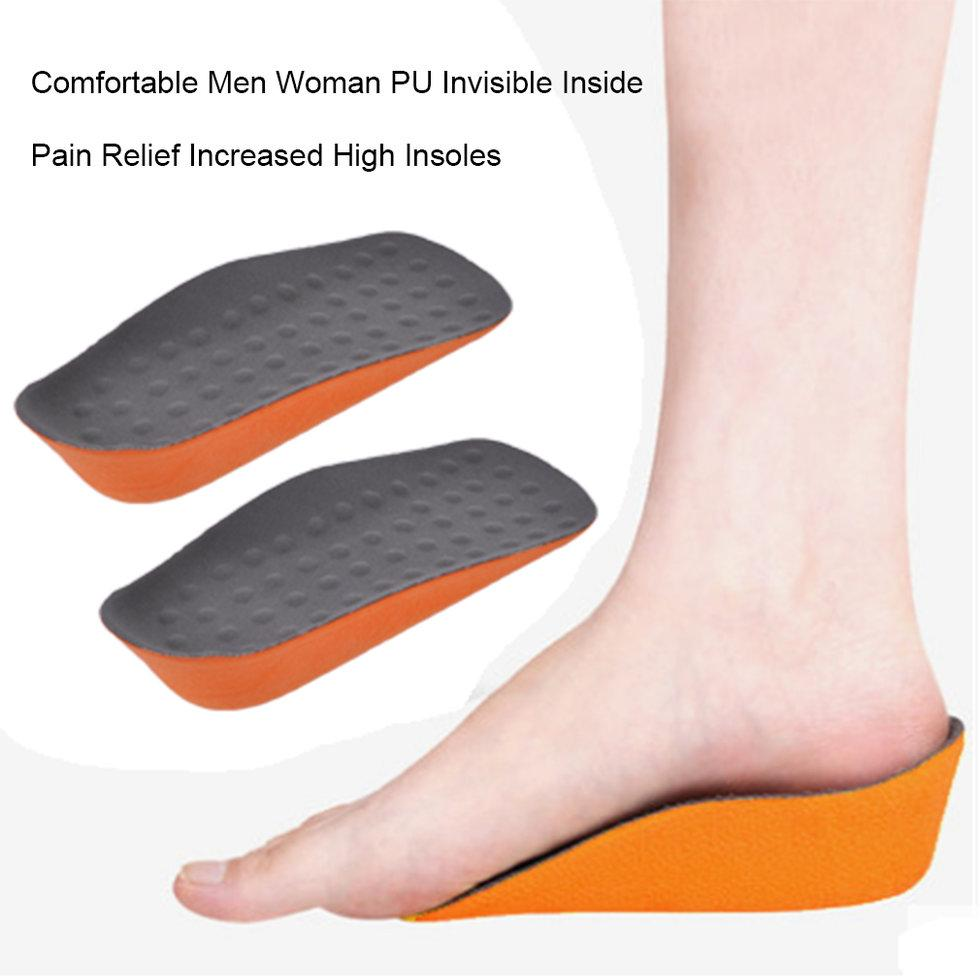 GOFT Comfortable Men Woman PU Invisible Inside Pain Relief Increased High Insoles Grey And Orange