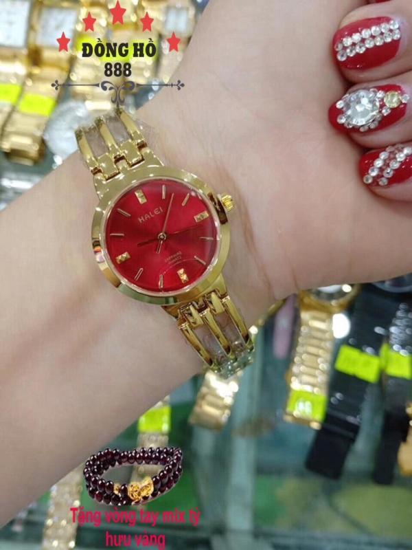 Đồng hồ Nữ Halei dây thép thời thượng  TẶNG 1 vòng tỳ hưu phong thủy  Dây vàng mặt đỏ