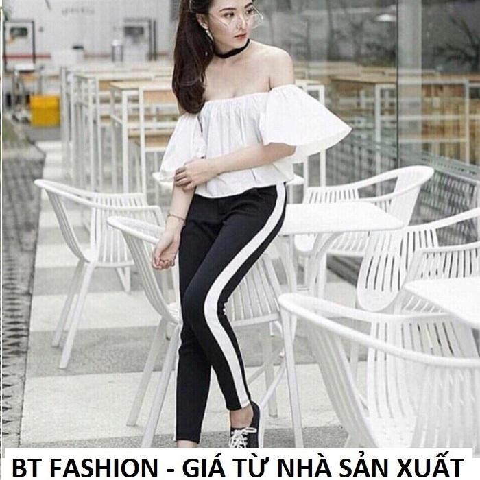 Quần Dài Nữ Thun Phom Rộng Jogger Thể Thao Thời Trang Hàn Quốc - BT Fashion (Sọc Xuông - 09)