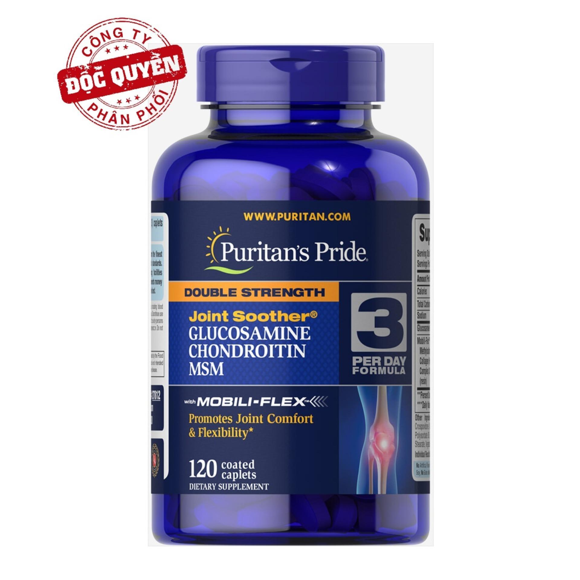 Viên uống giảm thoái hóa khớp, giảm đau viêm khớp, tăng cường dịch khớp, giúp khớp cử động linh hoạt Puritan's Pride Double Strength Glucosamine, Chondroitin & MSM 120 viên HSD tháng 4/2020