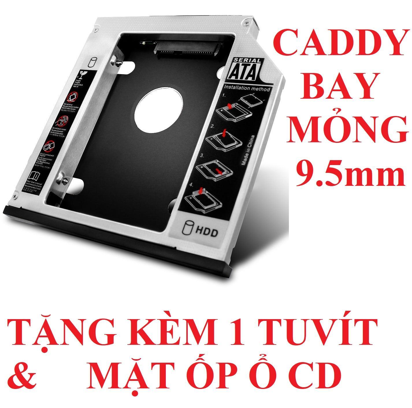 Khay gắn HDD/SSD cổng DVD - Caddy Bay SATA gắn thêm ổ cứng cho Laptop 9.5mm Mỏng - oden0232