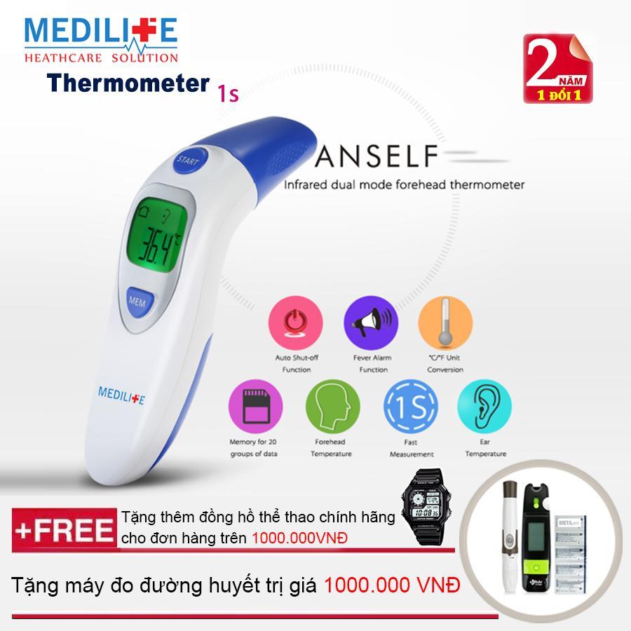 Nhiệt kế điện tử hồng ngoại đo tai và trán Medilife IT - 121 + Máy đo đường huyết Uright TD - 4265 + Mua từ 2 đơn trở lên tặng thêm đồng hồ thể thao (OEM)