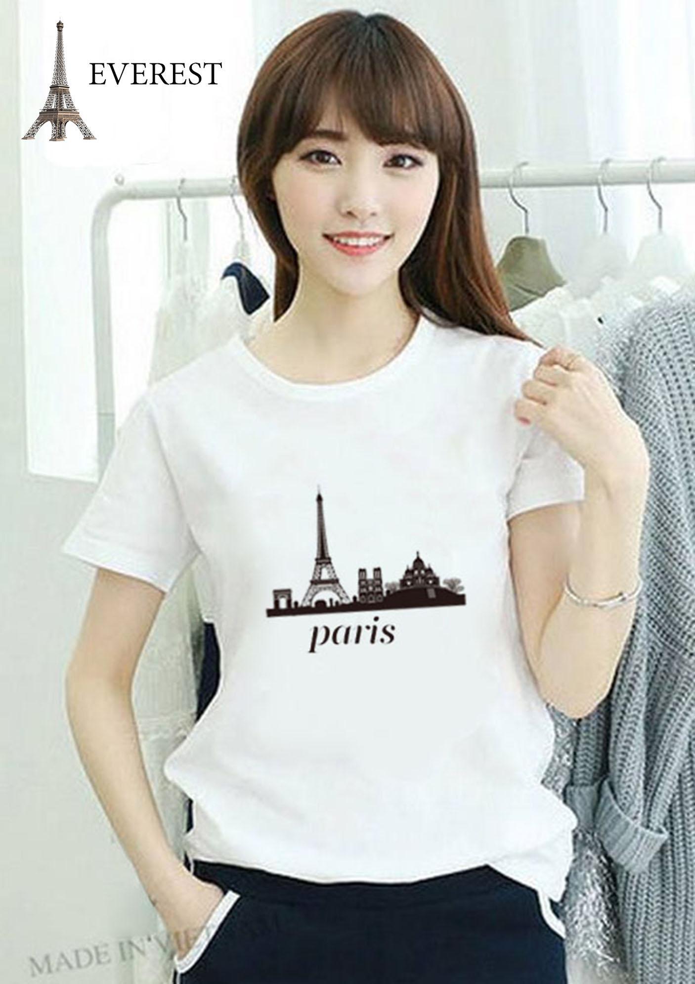 Áo thun nữ trắng in hình Paris form rộng hàn quốc vải dày mịn AoK556