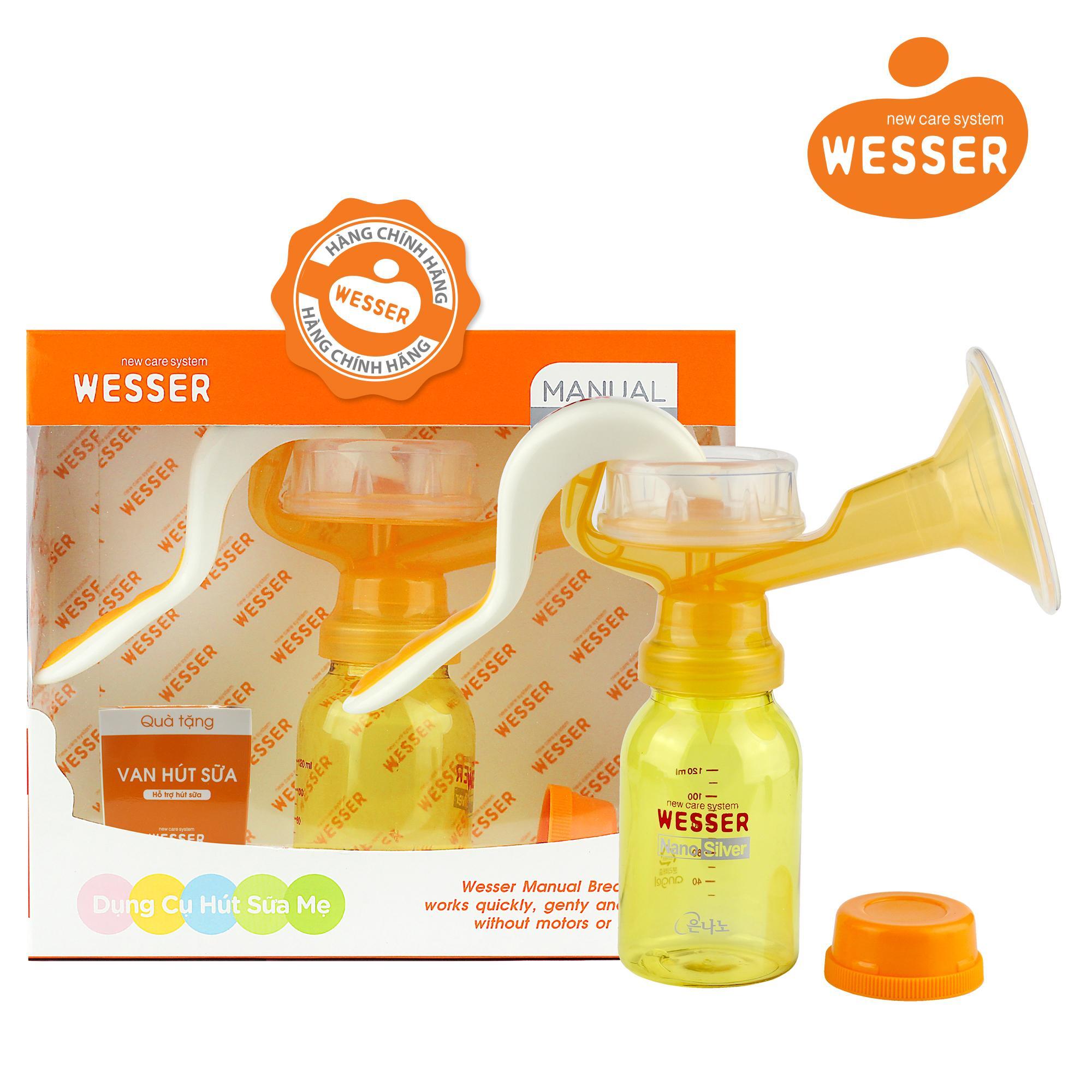 Bộ dụng cụ hút sữa bằng tay Wesser ( Màu cam)