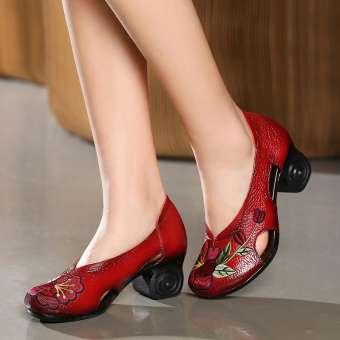 แบรนด์น้ำฤดูใบไม้ผลิและฤดูใบไม้ร่วงเปิด MIMZF รองเท้าหนังแท้รองเท้าสตรีส้นสูงส้นหนารองเท้าคุณแม่รองเท้าเต้นสีแดงพื้นรองเท้าอ่อน 40