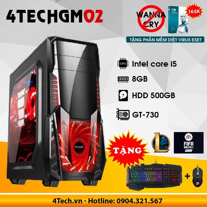 Máy tính chơi Game 4TechGM02 core i5, ram 8GB, hdd 500gb, vga GT730(chuyên LOL, FIFA, Stream) - Tặng phím chuột Gaming DareU.