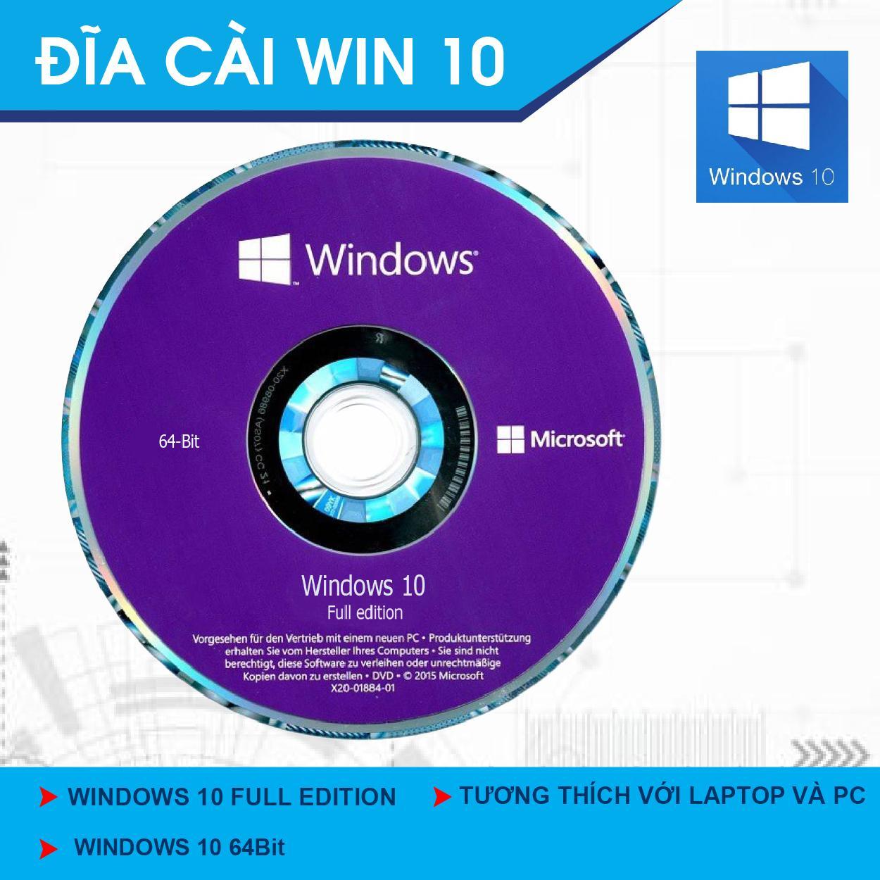 DVD Bộ Cài Đặt Hệ Điều Hành Window 10 64bit 2018.