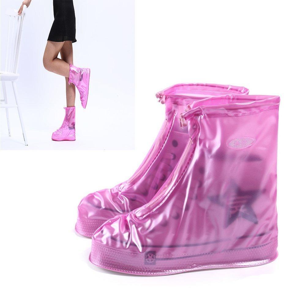 Bao Giày Đi Mưa - Áo Mưa Giày Dép Thời Trang Bằng Cao Su – 100% Khô Ráo Dù Mưa Bão Màu Hồng Size 43 - 44