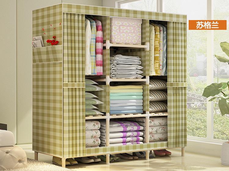 Tủ vải quần áo khung gỗ 3 buồng 8 ngăn