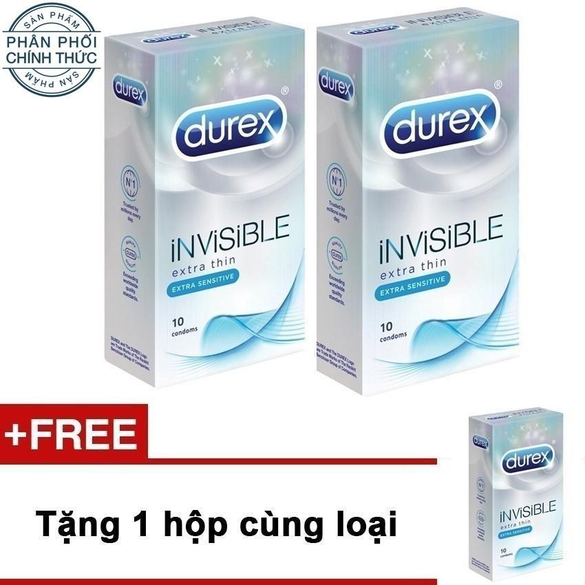 Bộ 2 hộp bao cao su Durex Invisible 10 bao...