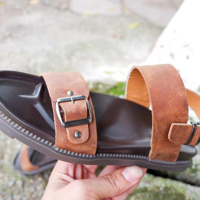 Dép đế đúc QUÂN ĐỘI quai da bò siêu bền - dép sandal nam 2 quai ngang (xăng đan hoamy deduc 140)
