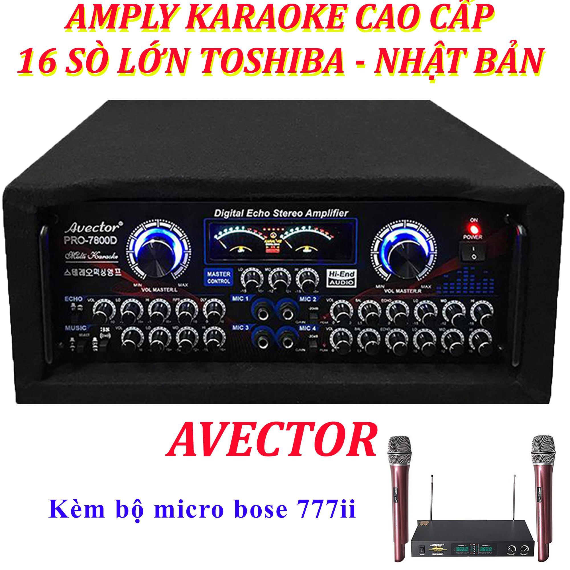 Ampli sân khấu Amply karaoke nghe nhạc hội thảo AVECTOR CÔNG SUẤT LỚN 7800 2400W amply karaoke hay nhất amply nghe nhạc kèm micro bs777ii