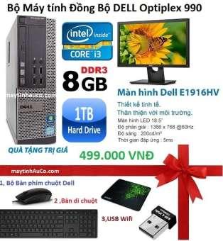 Bộ Máy Tính Đồng Bộ Dell Opiplex 990 (core I3 /8G/1000G) Và Màn Hình Dell 18.5inch (Đen), Tặng bàn phím chuột Dell ( FPT ), USB Wifi ,Bàn di chuột , Bảo hành 24 tháng