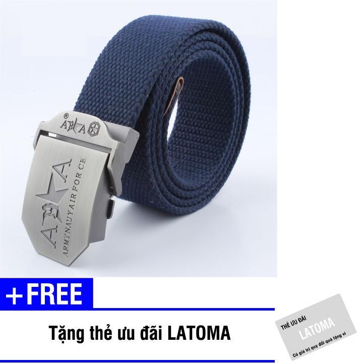 Thắt lưng vải bố đầu khóa kim loại Latumi S1671 + Tặng kèm thẻ ưu đãi Latumi