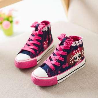 เด็กผู้หญิงรองเท้าผ้าใบ 2019 ฤดูใบไม้ผลิและฤดูใบไม้ร่วงเด็กผู้หญิงลำลองรองเท้านักเรียนรองเท้าสเก็ตบอร์ดบริสุทธิ์ขนาดใหญ่ผูกเชือกหุ้มข้อสูงเด็กผู้หญิงรองเท้าผ้า