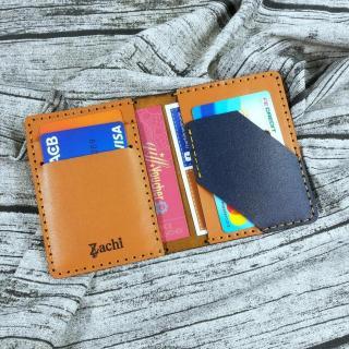 Ví nam nhỏ gọn, Ví mini da thật, Ví nam nhỏ gọn, Ví đựng thẻ ATM, Ví đựng giấy tờ, Ví đứng name card da bò handmade -MN38 thumbnail