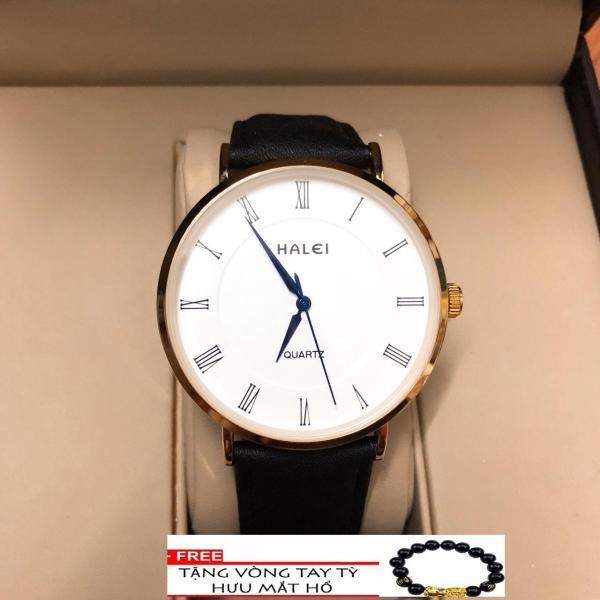 Đồng hồ nam dây da Halei mặt tròn thời thượng  TẶNG 1 vòng may mắn (dây đen mặt trắng) bán chạy