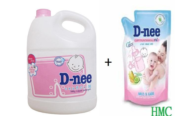 Bộ Nước giặt xả quần áo trẻ em Dnee 3000ml Thái Lan (5 màu) + Nước súc bình sữa, rửa...